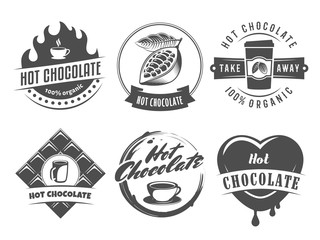 Vector hot chocolate logos. Cacao drink badges. Set of vintage stickers for cafe, bar or restaurant