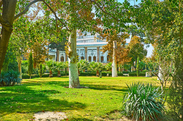 Among the palms and sycamore trees of Golestan garden, Tehran