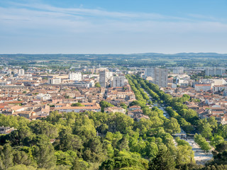 Cityscape view of Nimes, France