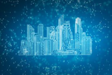 Blue polygonal city backdrop