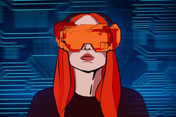 Virtual reality and computer concept