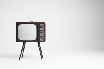 Obsolete TV on whiite background