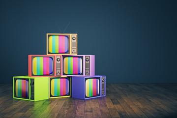 Old rainbow TV pile