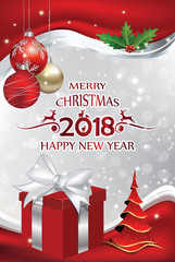 Elegant red and silver Christmas / New Year greeting card