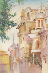 Watercolor painting of old buildings.
