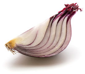 One quarter of red onion isolated on white background.