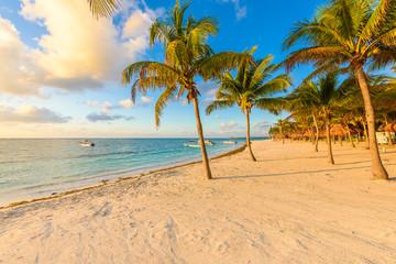 Sunrise at Akumal beach, paradise bay at Riviera Maya, caribbean coast of Mexico