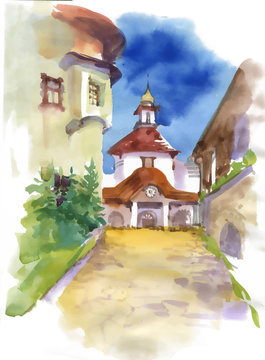 Beautiful church building in small town, watercolor painting.