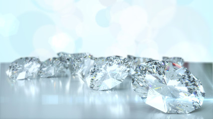 Many diamonds on glossy surface. 3d render