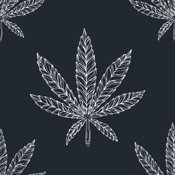 Cannabis leafs seamless vector pattern