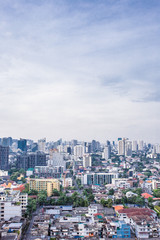 city buildings with blue sky Asok Bangkok Thailand