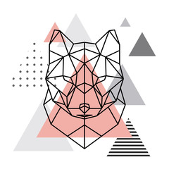 Geometric head of a wolf on a Scandinavian background. Scandi style.