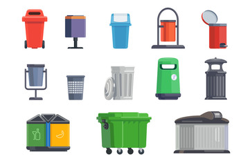Set of garbage cans for home and street Wall mural