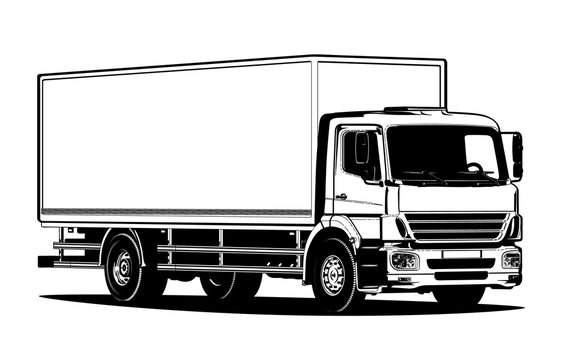 Vector truck outline template isolated on white