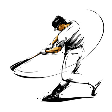 baseball player hitting ball swinging