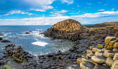 Unesco heritage landscape of the Giant's Causeway in County Antrim. Tourism in Northern Ireland in the United Kingdom.