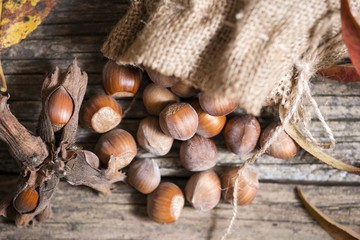 top view of hazelnuts in bag standing on wooden background