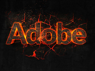 Adobe Fire text flame burning hot lava explosion background.