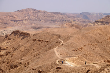 Scenic panorama landscape of Crater Ramon in Negev desert.