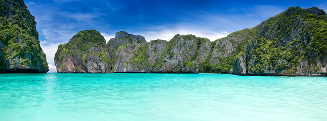 Maya bay in the Phiphi leh island at Andaman sea wide landscape.