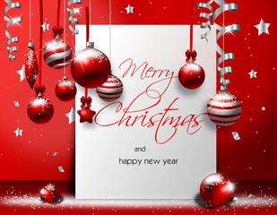 Christmas greeting card with christmas balls