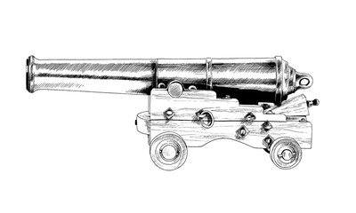retro gun drawn with ink on a white background