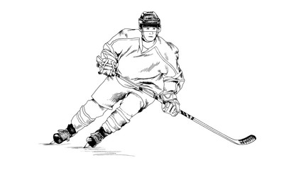 hockey player drawn in ink by hand without the background sketch