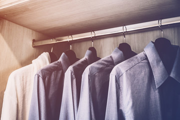 WHITE SHIRT HANG IN CLOSET CLOSED UP