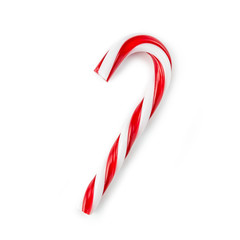 candy cane striped in Christmas colours isolated on a white background.