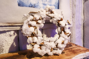 white wreath of cotton