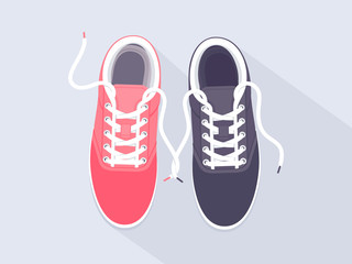Vector men's and women's sneakers.  Sport shoes. Shoes for running
