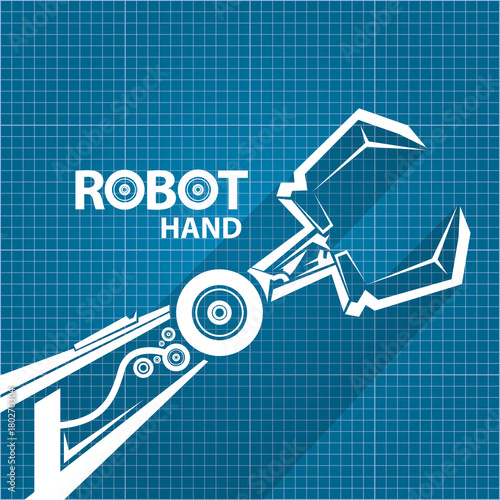 Vector robotic arm symbol on blueprint paper background robot hand vector robotic arm symbol on blueprint paper background robot hand technology background design malvernweather Gallery