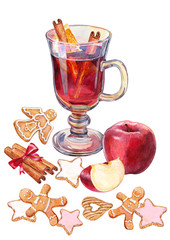 Mulled wine, Christmas treat and cinnamon. Watercolor.