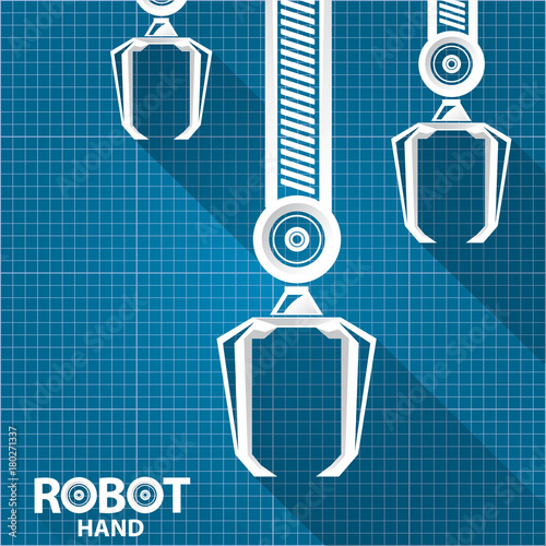 Vector robotic arm symbol on blueprint paper background robot vector robotic arm symbol on blueprint paper background robot hand technology background design malvernweather