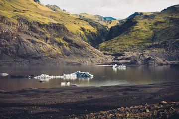 Florating Icebergs At Sólheimajökull
