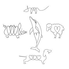 Dog, dolphin, rat, pig, lamb.