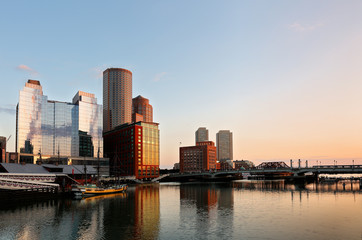 Boston Financial District before sunrise viewing from Fan Pier Park, Boston, Massachusetts, USA