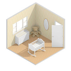 3d isometric rendering of child bedroom with cradle