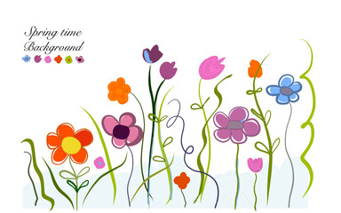 Spring time colorful doodle flowers illustration floral design background