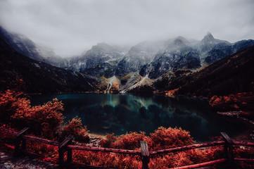 autumn view of Morskie Oko lake, Zakopane in Poland