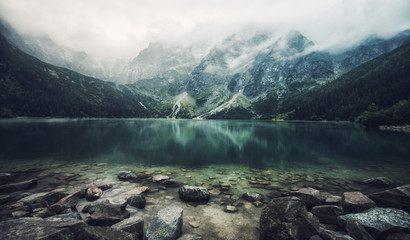 autumn view of Morskie Oko lake, Zakopane in Poland