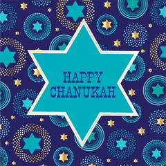 chanukah jewish star on background pattern