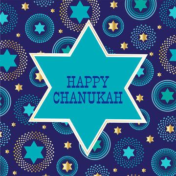 chanukah jewish star on background pattern