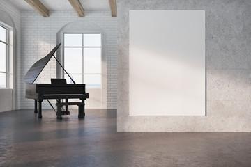 Black piano in a concrete room, poster