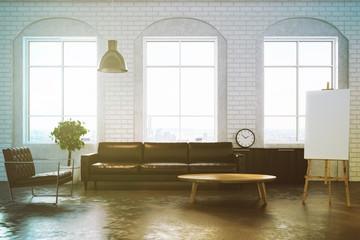 White brick living room, brown sofa toned