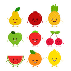 Cute happy smiling funny raw fruit