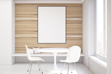 White and wooden dining room, table and poster