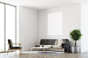 White living room, sofa, poster side