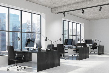 Concrete open space office interior side, black