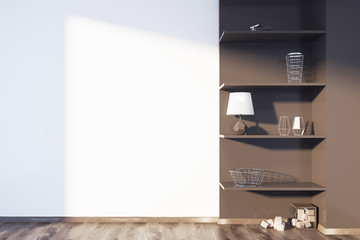 White and brown living room, shelves